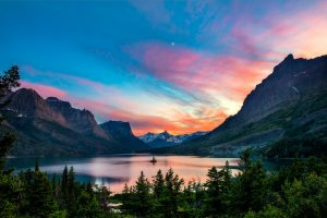 Beautiful Sunset by the Mountains and lake