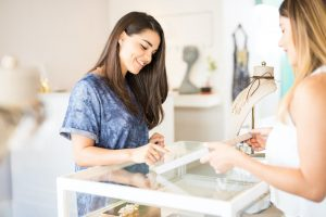 Woman shopping for ethical jewelry