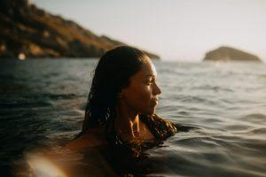 woman enjoying the ocean