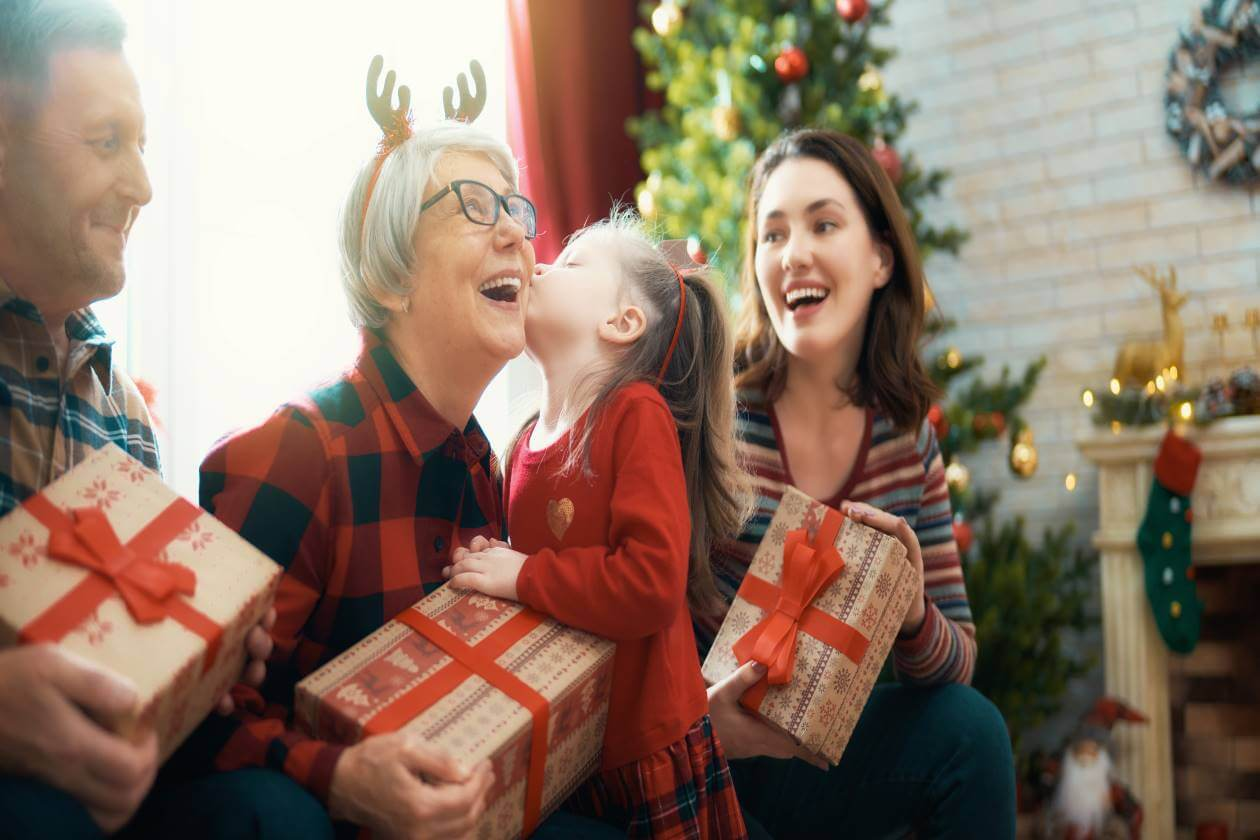 happy family giving gifts