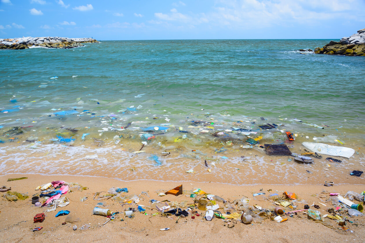 A beautiful beach is unfortunately filled with plastic pollution and waste