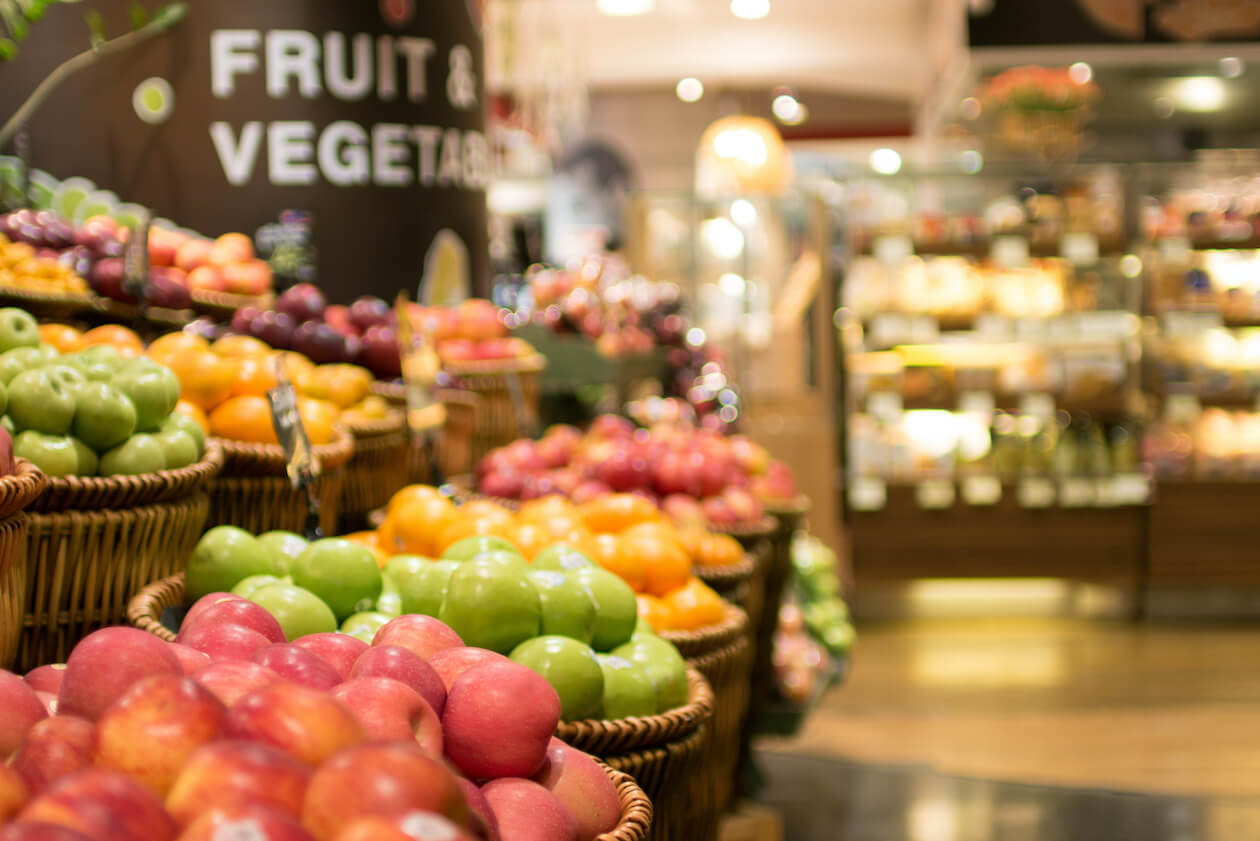 Supermarket and fruits