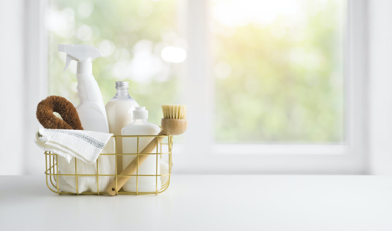Plastic-free cleaning products with wooden brush