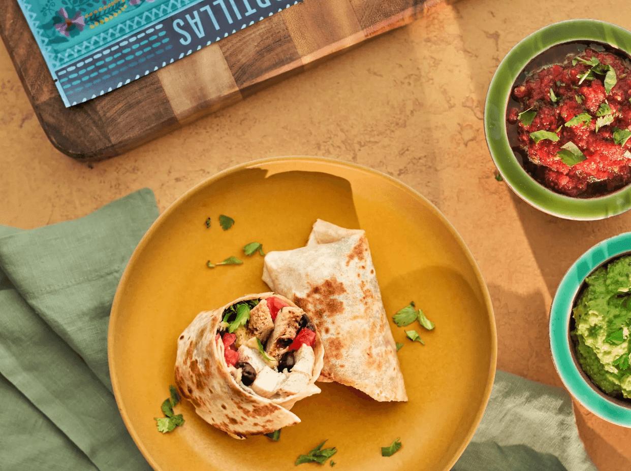 Burrito with Siete's grain-less tortilla