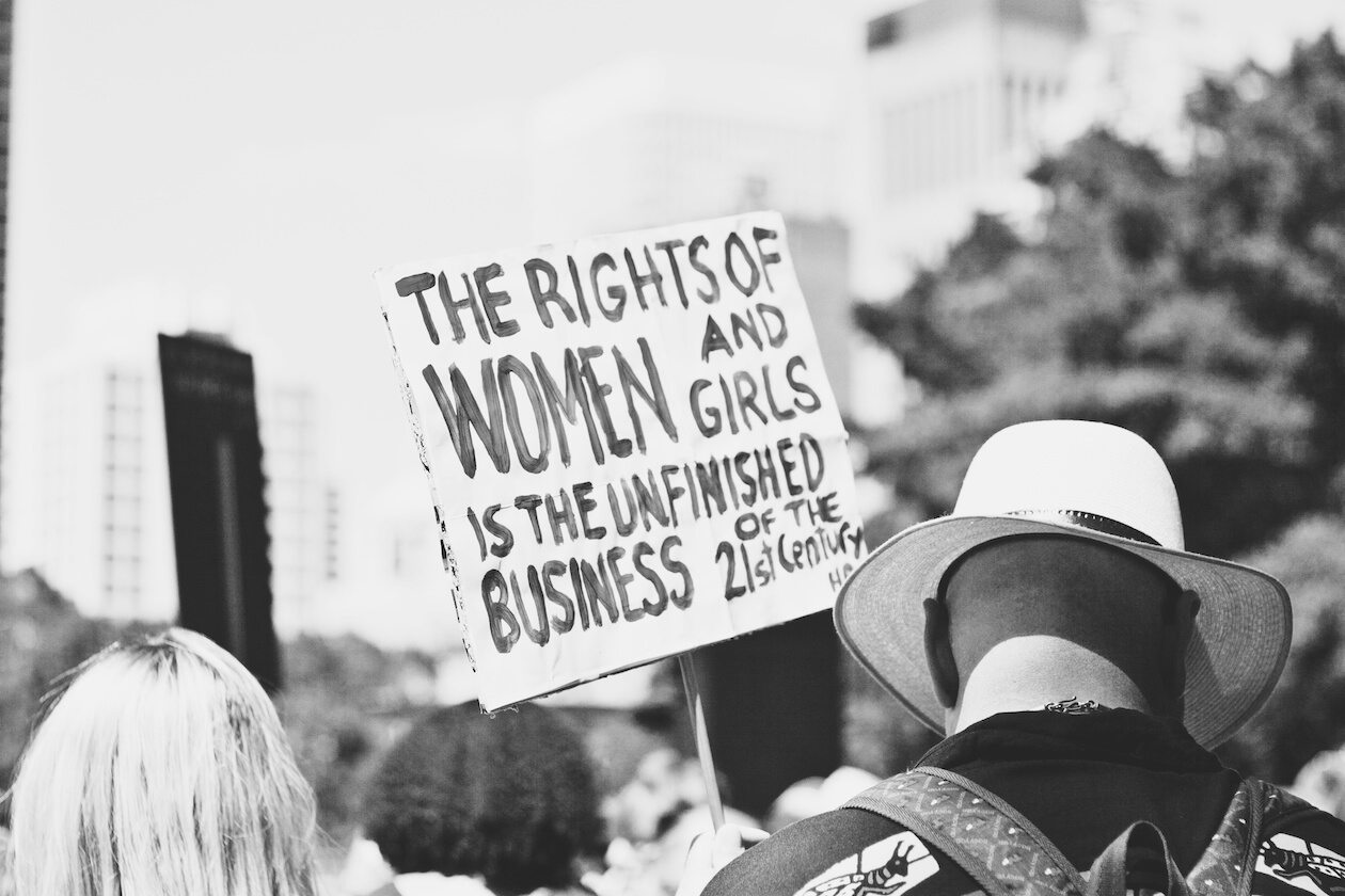 Women's Rights plague in black and white
