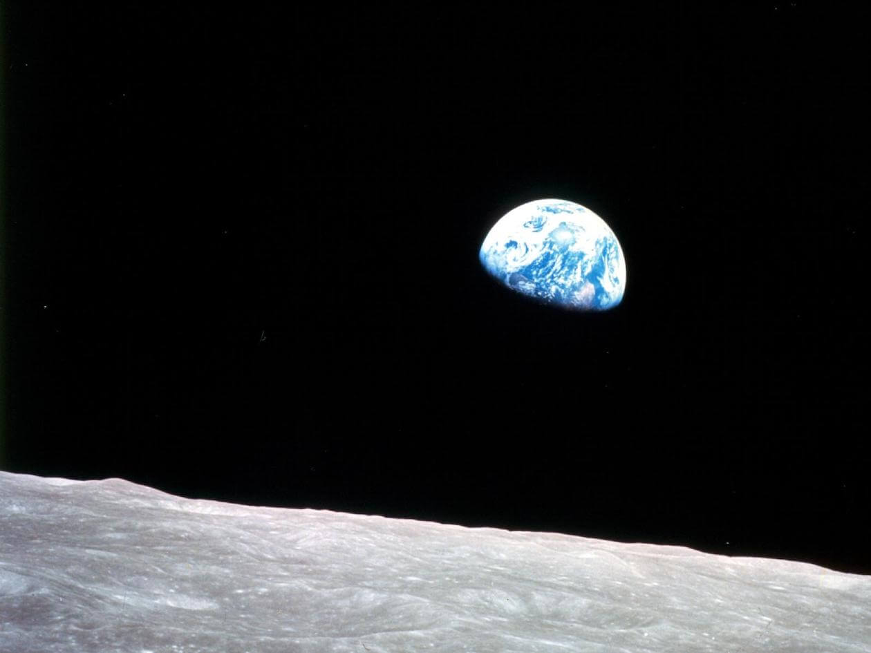 Photo of Earth from the moon on Apollo 8's trip