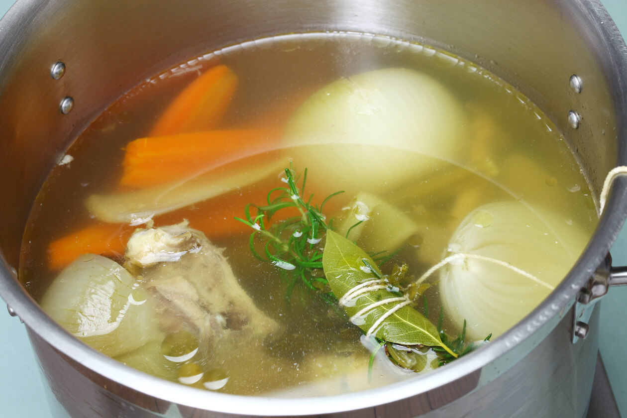 Herb in soup stock