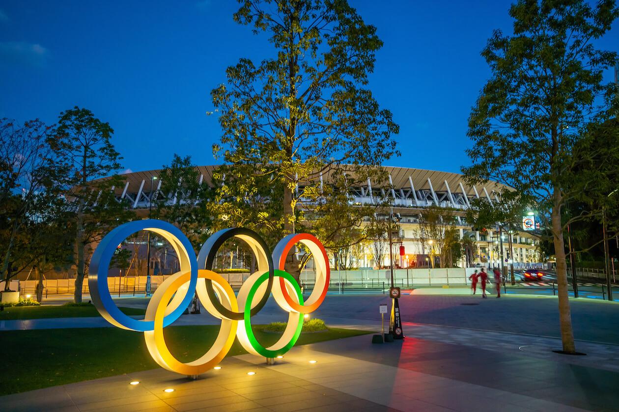 Tokyo Olympic Stadium at night