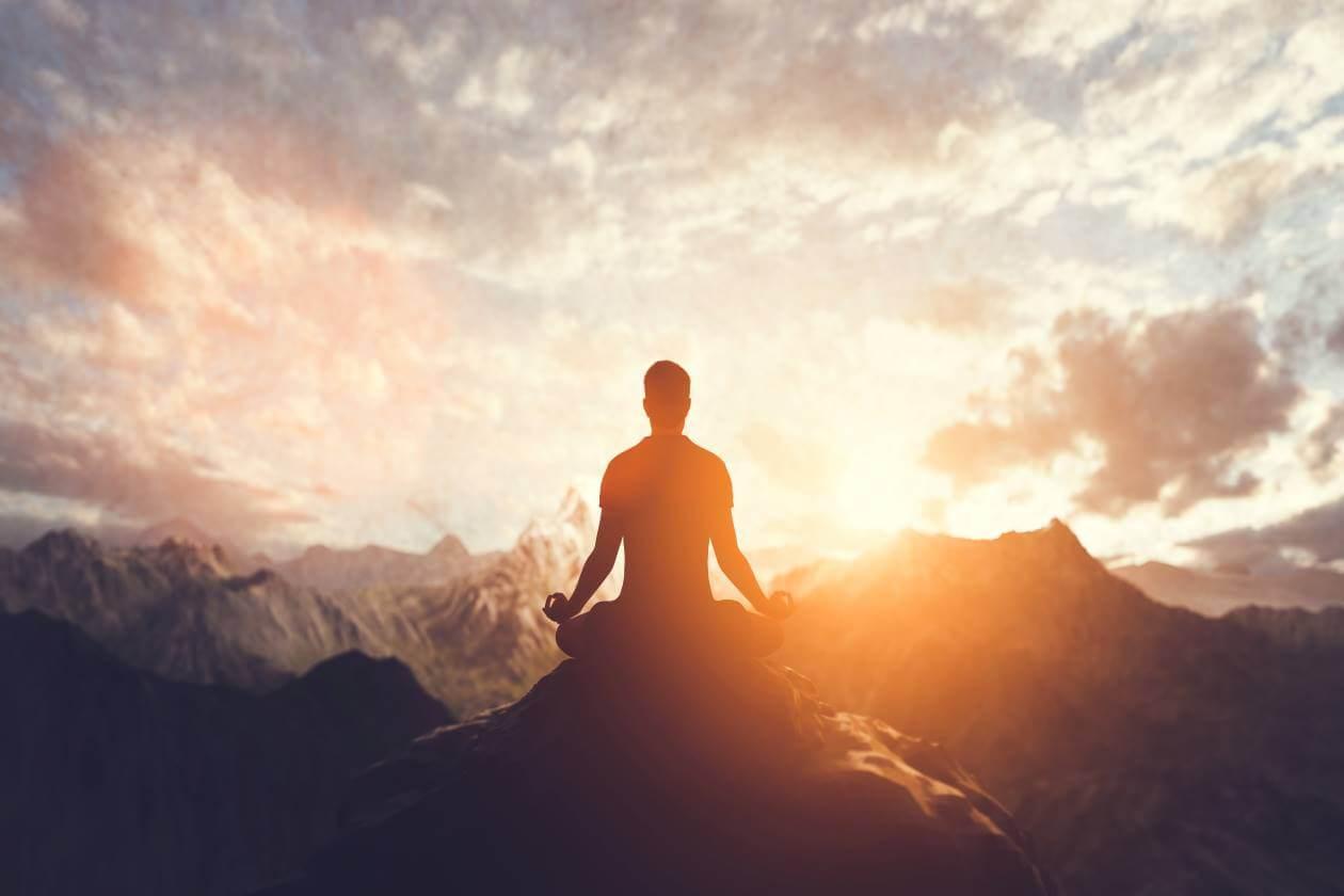 Peace Inside man sitting meditation